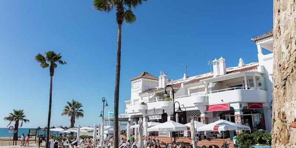 La Cala de Mijas, Costa del Sol, Malaga Province, Andalusia, southern Spain.  Cafe life beside the beach.